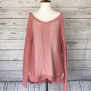 Hollister Dusty Coral Cold Shoulder Sweater Medium